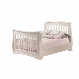 "Bella White Double Bed 54"" with pink sheets"