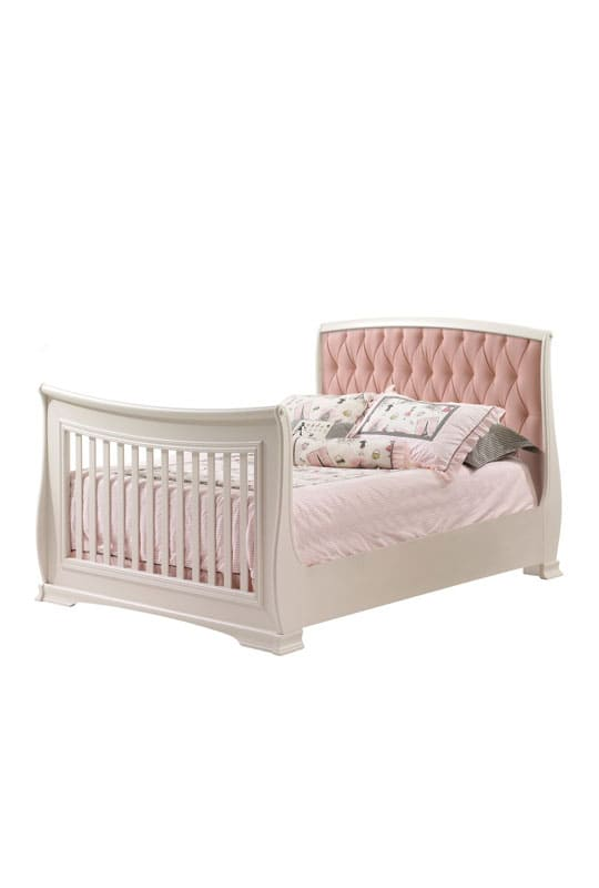 "Bella White Double Bed 54"" with pink upholstered panel"