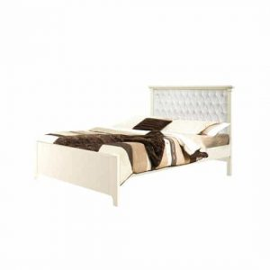 "Belmont Double Bed 54"" (low profile footboard) with Diamond Tufted Upholstered Headboard Panel White"