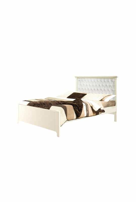 """Belmont french white Double Bed 54"""" (low profile footboard) with Diamond Tufted Upholstered Headboard Panel White"""