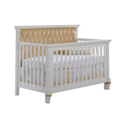 "Belmont Gold ""5-in-1"" white Convertible Crib with Gold Diamond Tufted Upholstered Headboard Panel"
