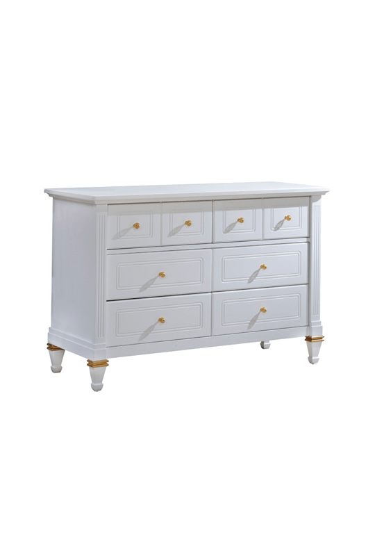 Belmont Gold white Double Dresser with 5 drawers and golden knobs