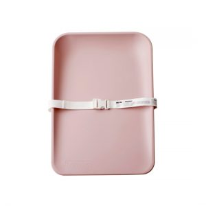 Matty Sleek portable changing mat with white strap in pink
