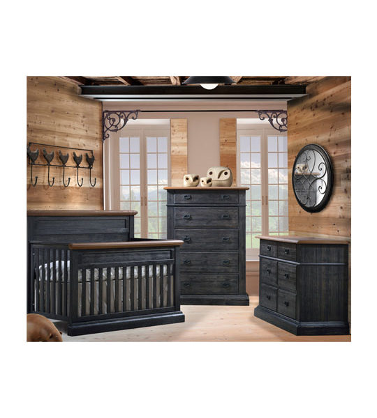 Baby room with wood panelled walls and dark black chalet wood double dresser, 5 drawer dresser, and crib with cognac colored tops