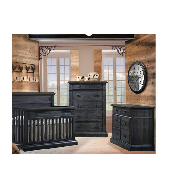 Baby room with wood panelled walls and dark black chalet wood double dresser, 5 drawer dresser, and crib