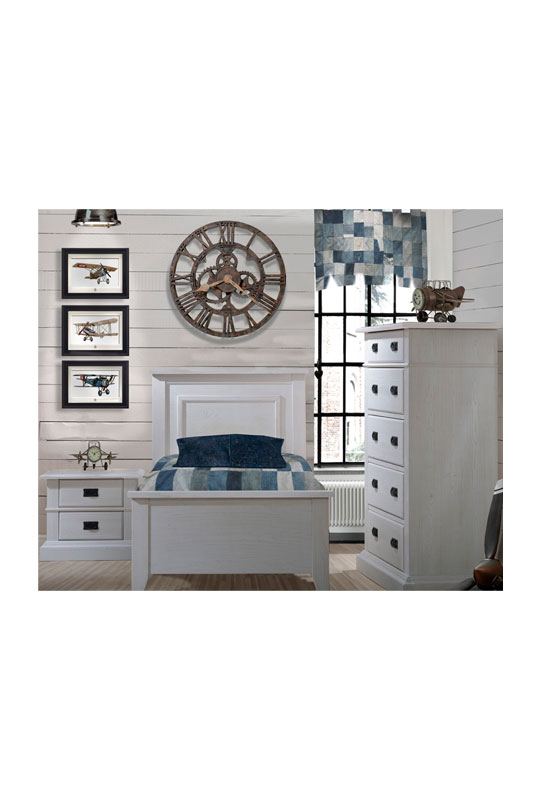White Bedroom with wood panelled walls, blue curtain and sheets with white wooden twin bed, two drawer nightstand, and 5 drawer dresser with black metallic handles