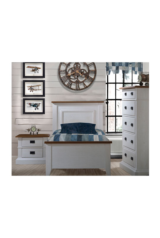 White Bedroom with wood panelled walls, blue curtain and sheets with white wooden twin bed, two drawer nightstand, and 5 drawer dresser with black metallic handles and cognac tops