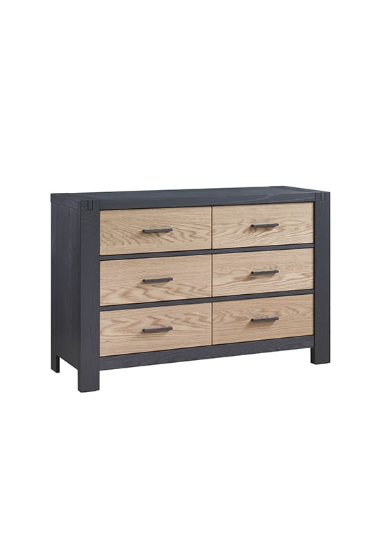 Rustico Moderno Double Dresser in Graphite and Natural Oak with Black Handles