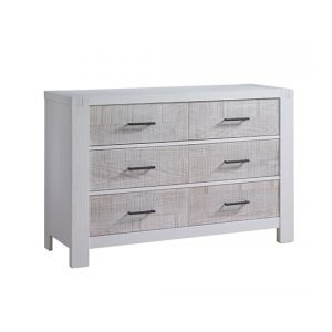 Rustico Moderno Double Dresser in White and White Bark with black handles