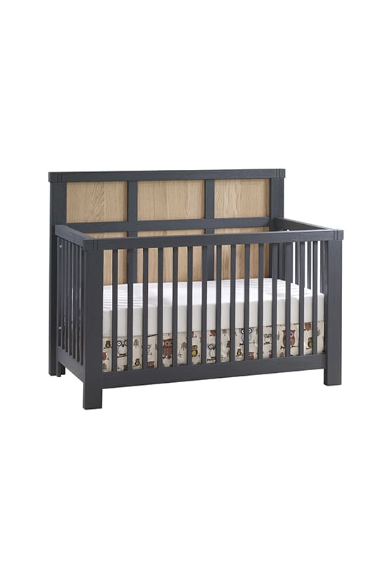 Rustico Moderno Crib in Graphite with natural oak wood headboard panels