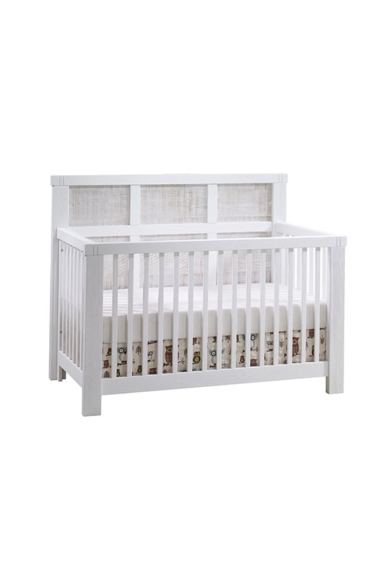 Rustico Moderno White crib with white bark headboard panels