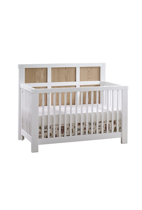 Rustico Moderno Crib in White with natural oak wood headboard panels