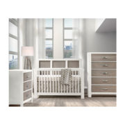 Light baby nursery with white and brown wood 3 drawer dresser, 5 drawer dresser and crib