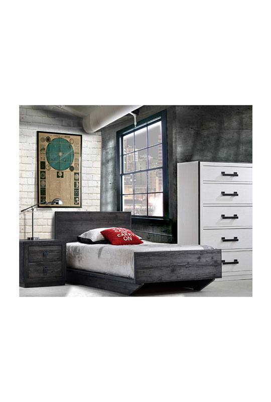 Dark bedroom with white brick wall and industrial design, with black wooden nightstand with two drawers, twin bed in black wood and a white 5 drawer dresser with black metal handles