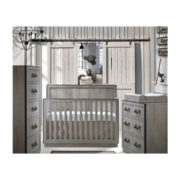 White baby room with wooden walls, a grey crib, double dresser, 5 drawer dresser and changing tray in grey chalet
