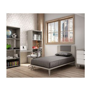 Grey bedroom with white brick wall, two grey bookcases, wooden window, simple grey twin bed and nightstand with white glossy facades