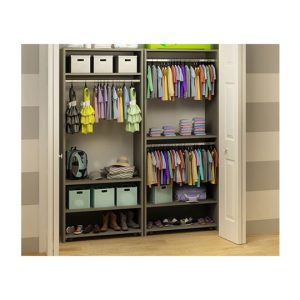 Striped walls with open Wardrobe/Closet organization System
