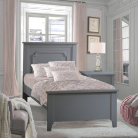 Light Grey Bedroom with pink curtains and classic grey twin bed and nightstand
