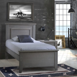"Dark grey bedroom with industrial lights, Wooden Rustic Twin Bed 39"" with blue sheets"