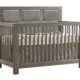 "Rustico ""5-in-1"" Convertible Crib with Linen Weave Upholstered Headboard Panel in grey"