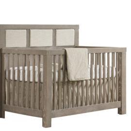 "Rustico ""5-in-1"" Wooden Convertible Crib w/Linen Weave Upholstered Headboard Panel in beige"