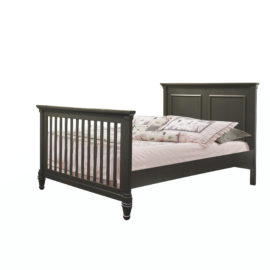 "Belmont dark black wood Double Bed 54"" with pink sheets"