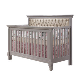 "Belmont ""5-in-1"" wooden Convertible Crib with Diamond Tufted Upholstered Panel in gold"