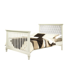 """Belmont Double Bed 54"""" with Diamond Tufted Upholstered Headboard Panel in white"""