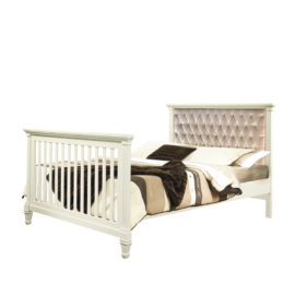 "Belmont Double Bed 54"" with Diamond Tufted Upholstered Headboard Panel in copper"