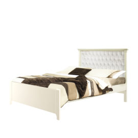 """Belmont Double Bed 54"""" (low profile footboard) with Diamond Tufted Upholstered Headboard Panel in white"""