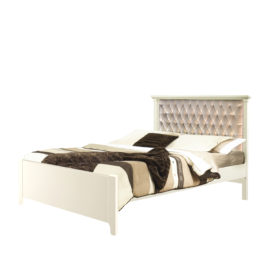 """Belmont Double Bed 54"""" (low profile footboard) with Diamond Tufted Upholstered Headboard Panel"""