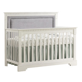 "Ithaca ""5-in-1"" White Convertible Crib with Blind-Tufted Linen Weave Upholstered Headboard Panel in grey"
