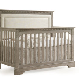 "Ithaca ""5-in-1"" Convertible Crib with Blind-Tufted Linen Weave Upholstered Headboard Panel in beige"