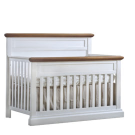 "Cortina ""5-in-1"" White Wood Convertible Crib with brown tops"