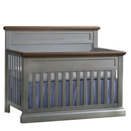 "Cortina ""5-in-1"" grey wood Convertible Crib with brown tops"