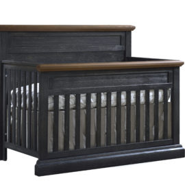 "Cortina ""5-in-1"" black wood Convertible Crib with brown tops"
