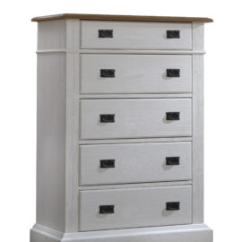 Cortina white 5 drawer dresser with brown tops and black metallic handles