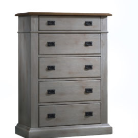 Cortina grey 5 drawer dresser with brown tops and black metallic handles