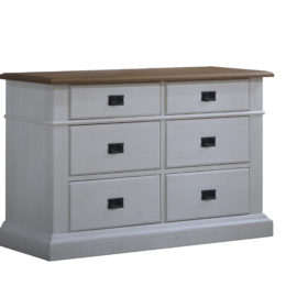 Cortina white double dresser with brown tops and black metallic handles