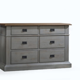 Cortina grey double dresser with brown tops and black metallic handles