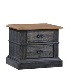 Cortina Black wooden Nightstand with two drawers, brown tops and black metallic handles