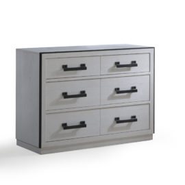 Sevilla white wood double dresser and black metallic handles