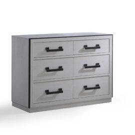Sevilla white wood double dresser and black metallic handles