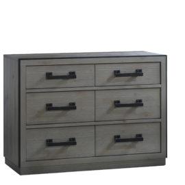 Sevilla grey wood double dresser and black metallic handles