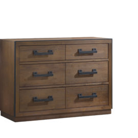 Sevilla dark brown wood double dresser and black metallic handles