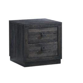 Sevilla black wood Nightstand with two drawers and black metallic handles