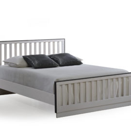 """Sevilla White Double Bed 54"""" with black edges and `low profile footboard"""