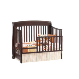 """Bella """"5-in-1"""" Dark wood Convertible Crib - converted into a toddler bed with toddler gates"""