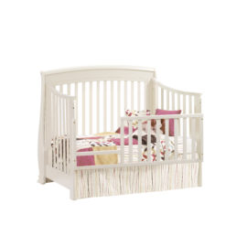 "Bella ""5-in-1"" White Convertible Crib - converted into a toddler bed with toddler gates"