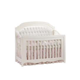 """Allegra """"5-in-1"""" White Convertible Crib with diamond tufted upholstered panel in whtie"""